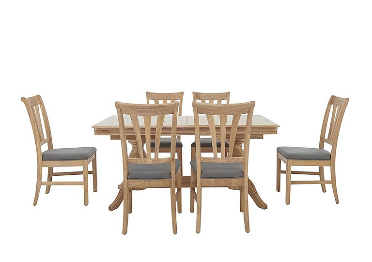 Maison Extending Dining Table and 6 Slatted Dining Chairs