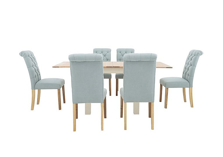 Angeles Flip Top Extending Dining Table and 6 Button Back Dining Chairs