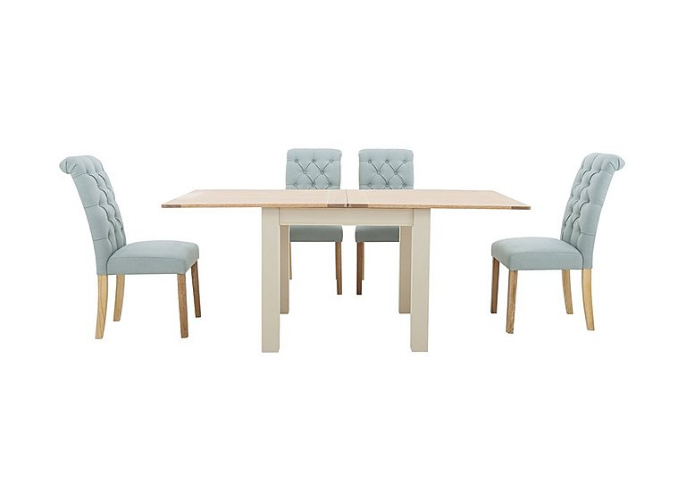 Angeles Flip Top Extending Dining Table and 4 Button Back Dining Chairs