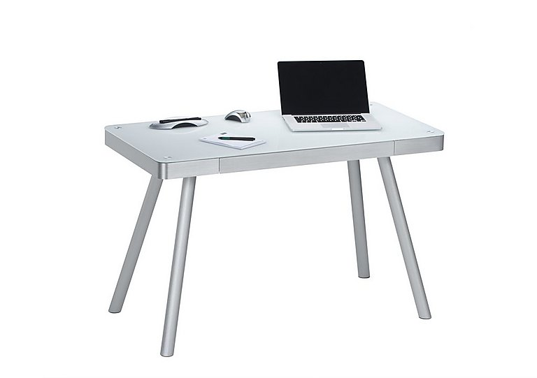 South Street Brooklyn Bridge Computer Desk in White Glass & Alu Metal on Furniture Village