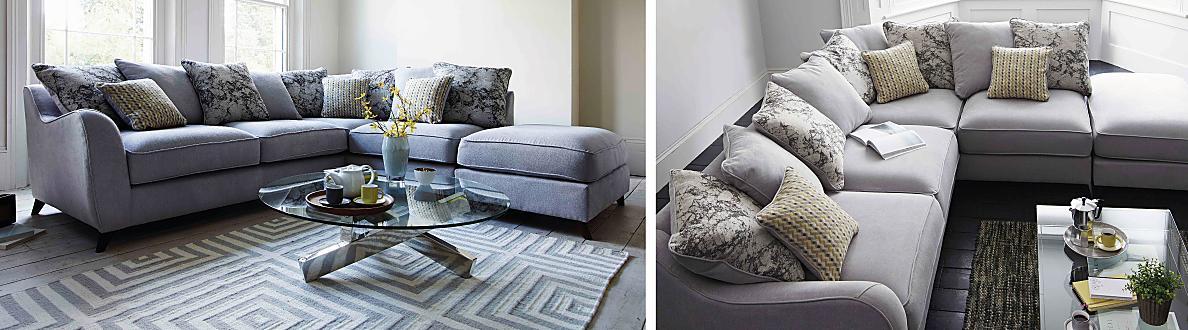 Furniture Village Guildford carrara 3 seater scatter back fabric sofa - furniture village