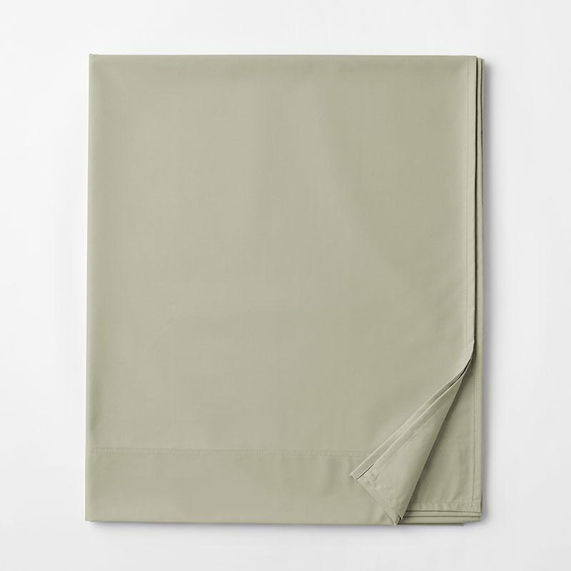Legends Hotel Supima Cotton Wrinkle-Free Sateen Deep Pocket Flat Sheet - Thyme, Ovrszd Qu