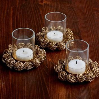 Woven Ball Votive Holders, Set of 3