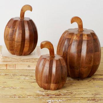 Carved Wood Pumpkins
