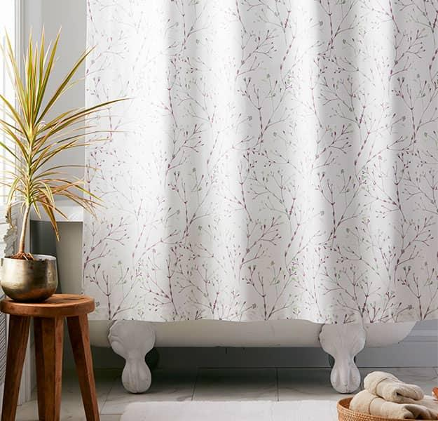 Painter's Sprig 300-Thread Count Organic Cotton Percale Shower Curtain
