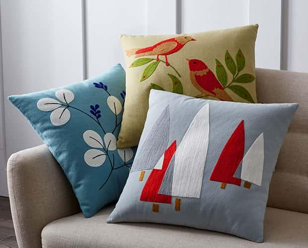 Holiday Crewel Pillow Covers