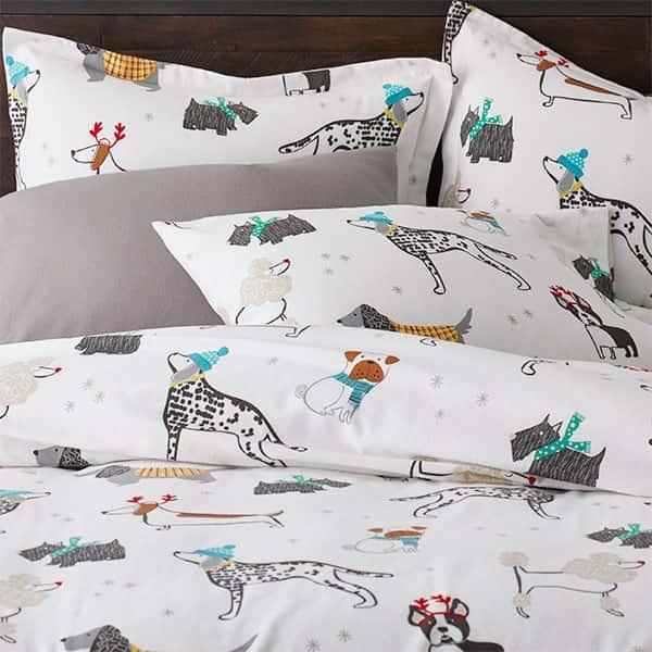 Holiday Dog Cotton Flannel Bedding
