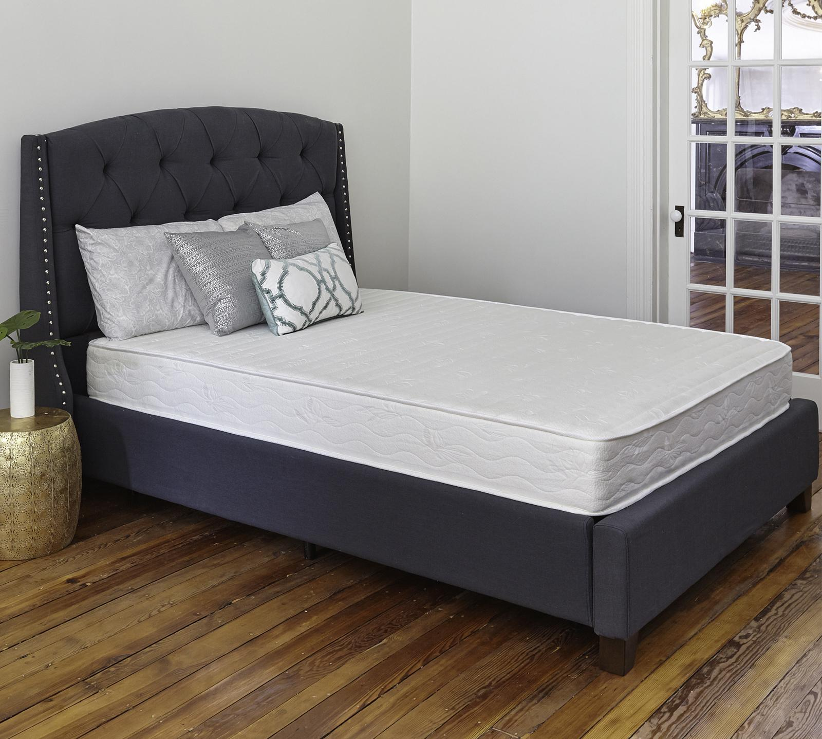 "The Perth 8"" Extra Firm Innerspring Mattress has the perfect balance of support and comfort. This mattress is constructed with individually wrapped pocketed coils that distribute your weight evenly and support every inch of your body. These coils even help to prevent motion transfer so you do not wake up your partner during the night. The foam layer above the coils ensures total comfort throughout the night providing faster and longer sleep."