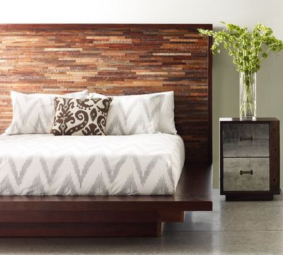 Bina Devon Rustic Modern Wood Bed