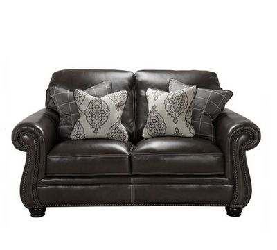 Charleston Leather Loveseat in Ghost Gray