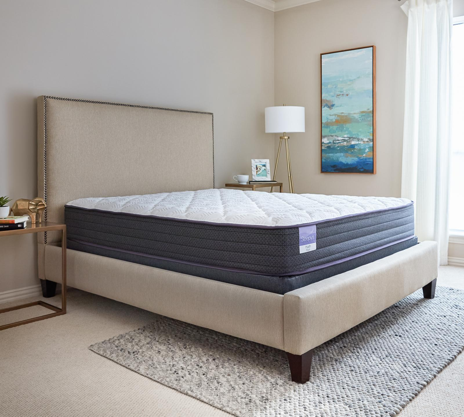"Stretch your budget further and stretch out on your new Sleepy's mattress. The Sleepy's Hush 10"" plush mattress contours perfectly to every curve by utilizing four unique layers of foam. The combination of soft quilt foam layers and the cooling gel-infused memory foam not only provide superior pressure relief but also dissipates body heat. The encased coil support system contains individually wrapped coils that perform independently of each other to provide motion isolation, reducing tossing and turning. At the very bottom, a layer of high-density, shock-absorbing base foam helps the encased coils react to your body movement and enhances support."
