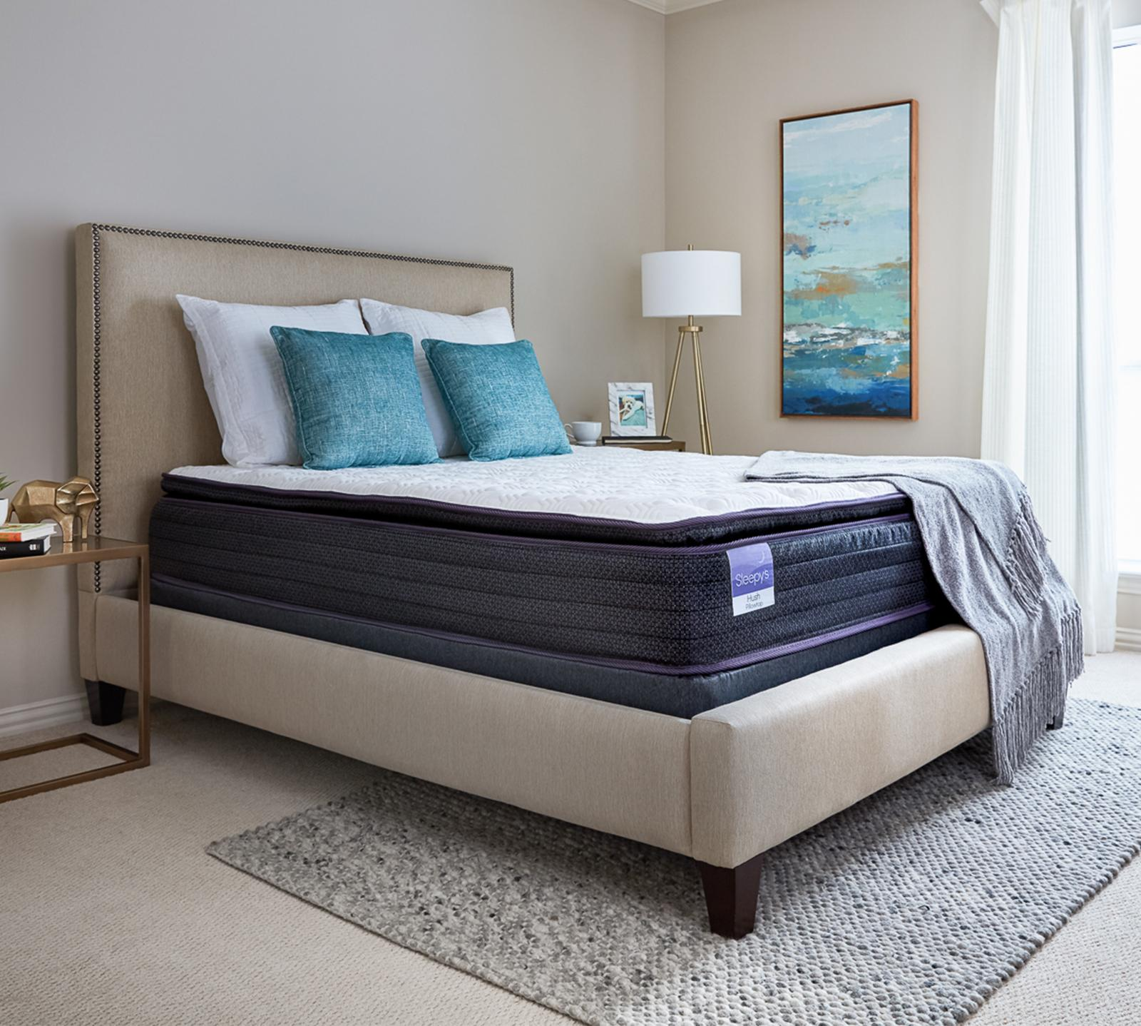 "Stretch your budget further and stretch out on your new Sleepy's mattress. The Sleepy's Hush 11"" pillow top mattress contours perfectly to every curve by utilizing four unique layers of foam. Two soft quilt foam layers that sit on top of a comfort foam layer provide ultimate luxurious comfort and superior pressure relief. The cooling gel-infused memory foam dissipates body heat, while the high-density, individually wrapped coil system minimizes motion transfer which reduces tossing and turning. At the very bottom, a layer of high-density, shock-absorbing base foam helps the encased coils react to your body movement and enhances support. The sides are encased by five-and-a-half foam rails that support the top layers of your mattress, so it won't sag or settle, no matter how you sleep."