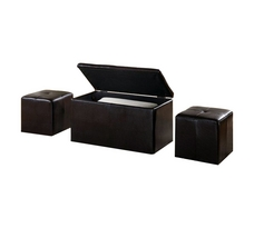 Urban Seating 3-in-1 Storage Bench with 2 Bonus Ottomans