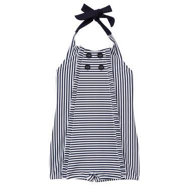 Classic Navy Stripe Stripe Halter Swimsuit at JanieandJack