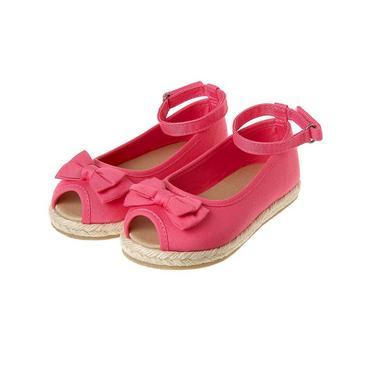 Preppy Pink Bow Peep-Toe Espadrille at JanieandJack