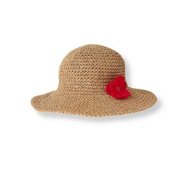 Natural Camellia Corsage Straw Hat at JanieandJack