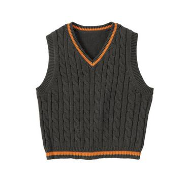 Asphalt Grey Cable Sweater Vest at JanieandJack