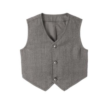 Baby Boy Charcoal Grey Herringbone Button Tab Suit Vest at JanieandJack