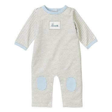 Soft Grey Stripe Train Stripe One-Piece at JanieandJack