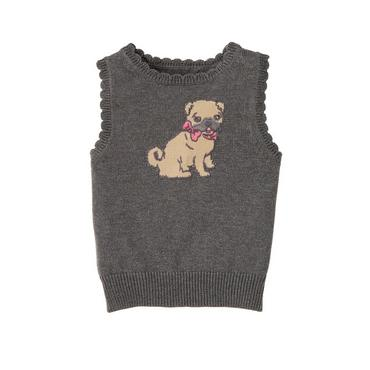 Charcoal Heather Pug Puppy Sweater Vest at JanieandJack
