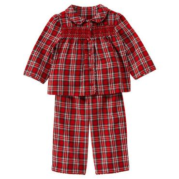 Reindeer Red Plaid Smocked Plaid Pajama Set at JanieandJack