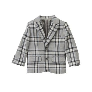 Heather Grey Plaid Glen Plaid Wool Suit Blazer at JanieandJack