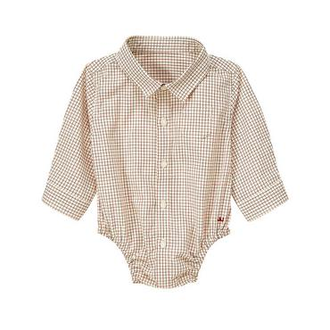 Rocking Horse Brown Check Tattersall Bodysuit at JanieandJack