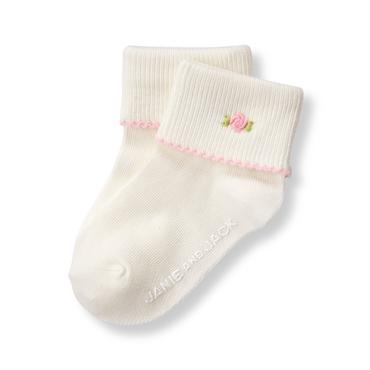 Ivory Embroidered Rose Sock at JanieandJack