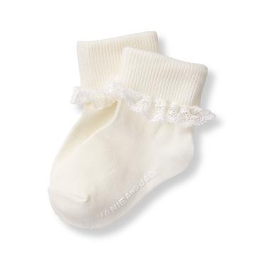 Ivory Lace Ruffle Sock at JanieandJack