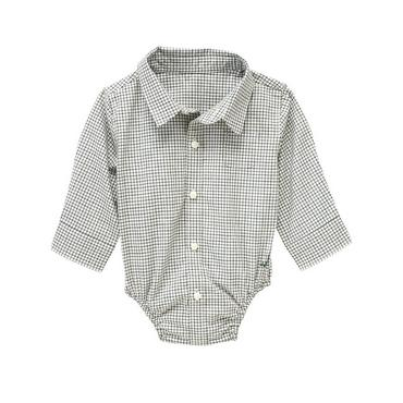 Pine Needle Green Plaid Checked Shirt Bodysuit at JanieandJack