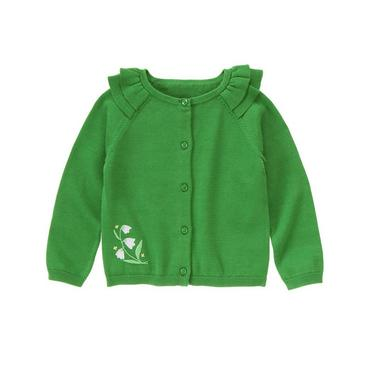 Clover Green Hand-Embroidered Lily Cardigan at JanieandJack