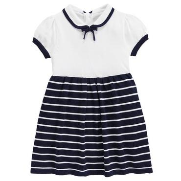 Spring Navy Stripe Stripe Sweater Dress at JanieandJack