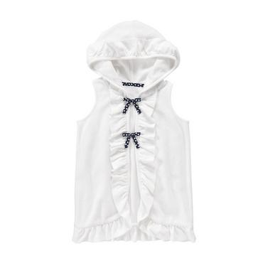 Pure White Ruffle Hooded Terry Swim Cover-Up at JanieandJack