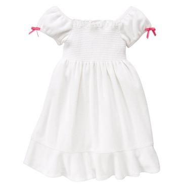 White Smocked Terry Swim Cover-Up at JanieandJack