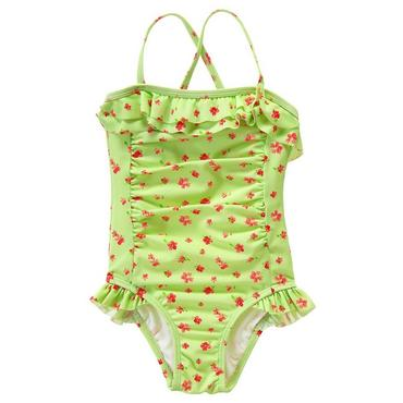 Citrus Green Floral Ruffle Floral Swimsuit at JanieandJack