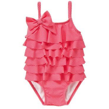 Wild Rose Dot Ruffle Tiered Pindot Swimsuit at JanieandJack