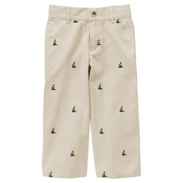 Boys Classic Khaki Embroidered Sailboat Pant at JanieandJack
