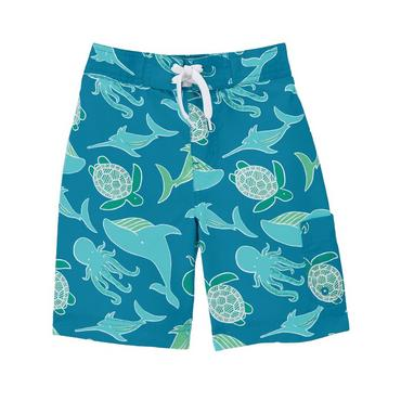 Bright Aqua Blue Sea Creatures Swim Trunk at JanieandJack