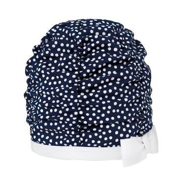 Baby Girl Spring Navy Dot Dot Ruched Swim Cap at JanieandJack