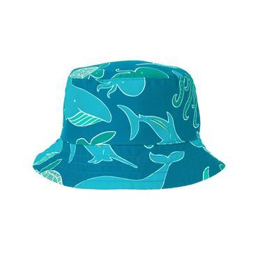 Boys Bright Aqua Blue Sea Creatures Bucket Hat at JanieandJack