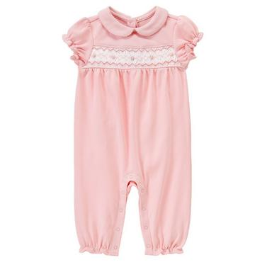 Marshmallow Pink Hand-Embroidered Rosette Smocked One-Piece at JanieandJack
