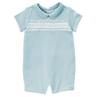 Signature Blue Smocked Collar One-Piece at JanieandJack