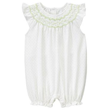 Pale Green Dot Hand-Smocked Dot Bubble at JanieandJack