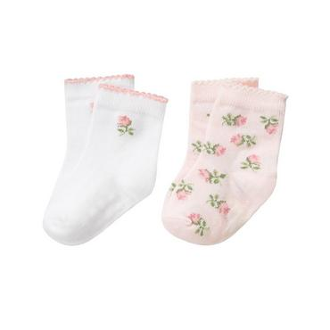 Pure White Rose Floral Sock Two-Pack at JanieandJack