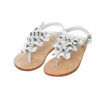 Pure White Ruffle Leather Sandal at JanieandJack