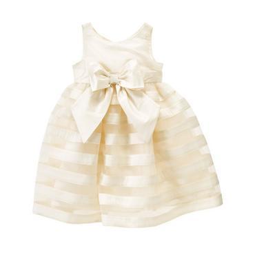 Jet Ivory Tulle Stripe Silk Dress at JanieandJack