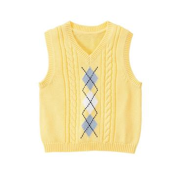 Sunshine Yellow Argyle Cable Sweater Vest at JanieandJack