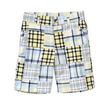 Boys Spring Blue Patchwork Patchwork Short at JanieandJack