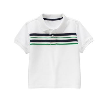 Pure White Stripe Polo Shirt at JanieandJack