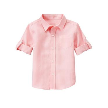 Classic Pink Linen Roll Cuff Shirt at JanieandJack